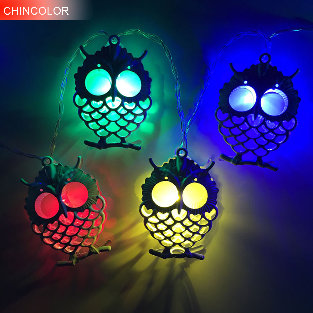 1.2M 10LEDS Holiday lights Creative Owl Led Light string Battery Operated Birthday Gift Xmas Garland christmas fairy decor DA