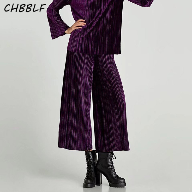 Fashion Women purple color   wide     leg     pants   ladies fashion   pants   elastic waist velvet pleated   pants   HJH1286