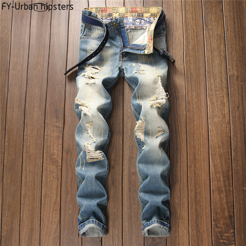 2018 Plus Size Jeans Men Cotton Hip Hop Jeans In Mens With Holes Ripped Blue Brand Men Slim Jeans Denim Biker Pants Hommes