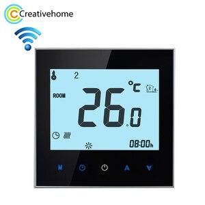 Image 1 - 16A 220 V AC LCD écran tactile hebdomadaire Programmable électronique chauffage par le sol température téléphone contrôleur chambre Air Thermostat WIFI