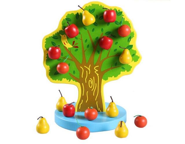 Монтессори Образовательные Деревянные Игрушки Магнитный Яблоня Детские Игрушки Раннее Детство Дошкольное Обучение