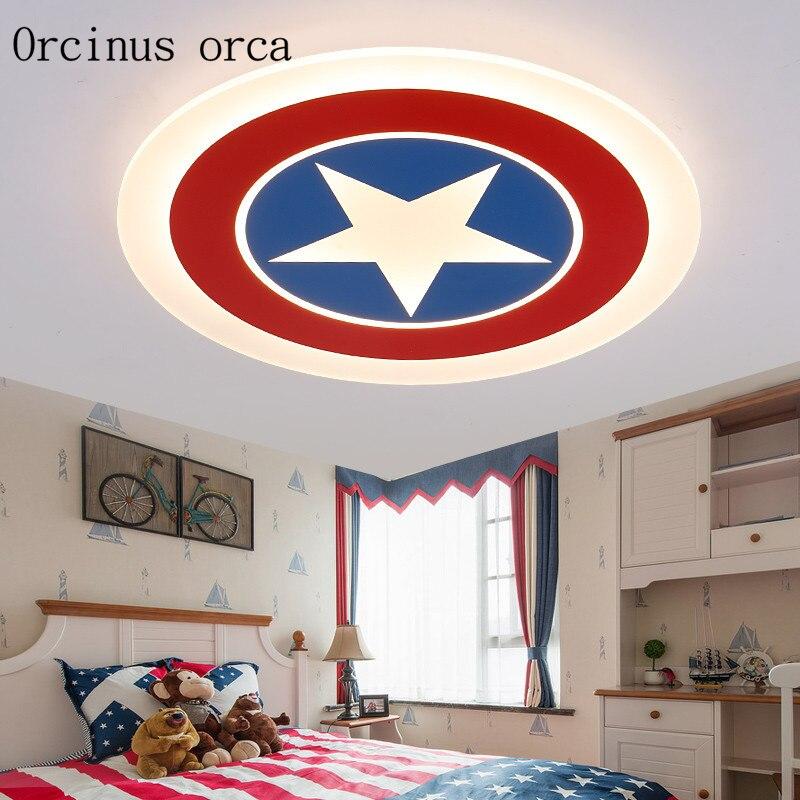Kids Room Lighting Captain America Ceiling Lights Child Bedroom Cartoon 7LED*3W&24LED*0.3W for Living Room Home Decoration Lamp