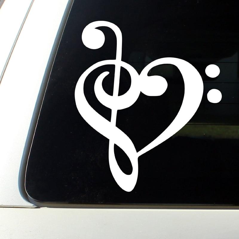 2019 Latest Design Heart Music Note Bumper Sticker Decal Car Window Premium Quality White Die Cut Vinyl Decal 5'' White