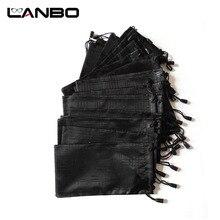 LANBO 100 ชิ้น/ล็อตแว่นตากันน้ำนุ่มลายสก๊อตผ้ากระเป๋าแว่นตากันแดดกระเป๋าแว่นตากระเป๋าสีดำขายส่งคุณภาพดี S11