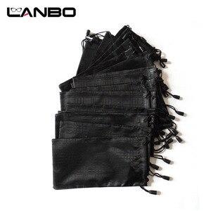 Image 1 - LANBO 100 개/몫 안경 케이스 소프트 방수 격자 무늬 천으로 선글라스 가방 안경 파우치 블랙 컬러 도매 좋은 품질 S11