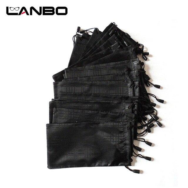 LANBO 100 개/몫 안경 케이스 소프트 방수 격자 무늬 천으로 선글라스 가방 안경 파우치 블랙 컬러 도매 좋은 품질 S11
