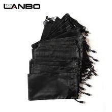 Lanbo 100 Stks/partij Bril Case Soft Waterdicht Plaid Doek Zonnebril Zak Glazen Pouch Zwart Groothandel Goede Kwaliteit S11