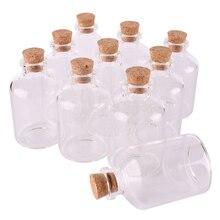 24 pz 50 ml Formato 40*63*12.5mm Bottiglie di Spezie Bottiglie di Vetro con Tappo di Sughero Vuoto Trasparente Regalo vasi Artigianato Fiale