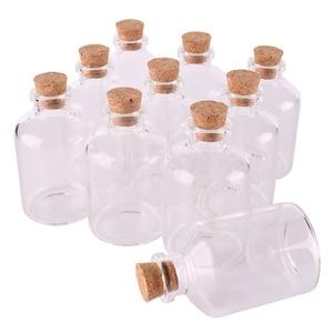 Image 1 - Bouteilles transparentes en verre avec bouchon en liège, bocaux à épices vides, taille 40x63x12.5mm, flacons artisanaux, cadeaux, 24 pièces