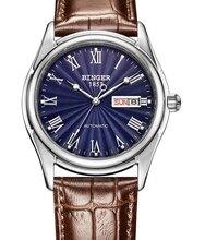 Швейцария БИНГЕР часы мужчины часы люксовый бренд Голубое свечение Механические Наручные Часы кожаный ремешок 50 М Водонепроницаемость