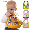 Waterproof Baby Bibs Scarves Apron For Boys Girls Saliva Pocket For Babies Colorful Bibs Pocket Split Type Plastic Bib