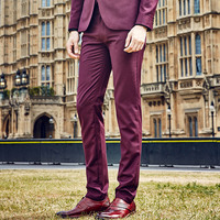 Men Slim Formal Suit Pants Fashion Pure Purple Red Autumn Leisure Retro Young Man Business Wedding Groom Long Pant Trousers