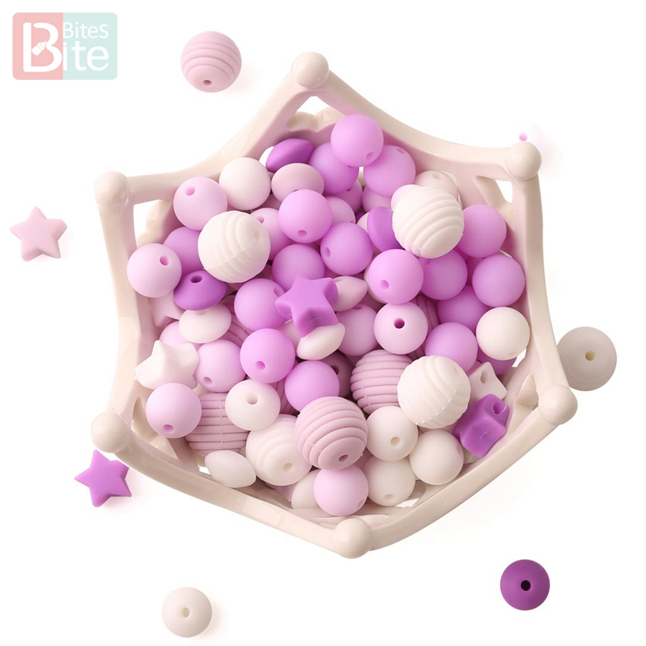 Bite Bites 100PCS Mixed Silicone Beads Food Grade Teething Baby Nursing Product Necklace Made Candy Color BPA Free Baby Teether
