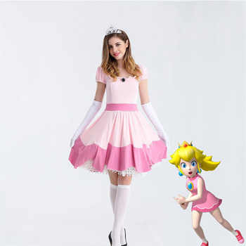 Deluxe Adult Princess Peach Costume Women Princess Peach Super Mario Bros Party Cosplay Costumes Halloween Costumes - DISCOUNT ITEM  29 OFF All Category