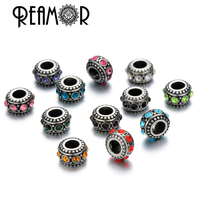 Reamor Stainless Steel Cz Birthstones Beads Charms European Fit Women Bracelet Necklace Diy Jewelry