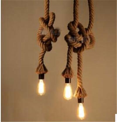 Yousei American Country Penant Light Flexible Loft Hanging Lamp Hemp Rope Fixture 110