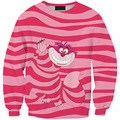 New Arrival 0141 Women Girl Alice in The Wonderland Cheshire cat 3D Prints Walking Sweatshirt Suit Outside Workout Hoodies