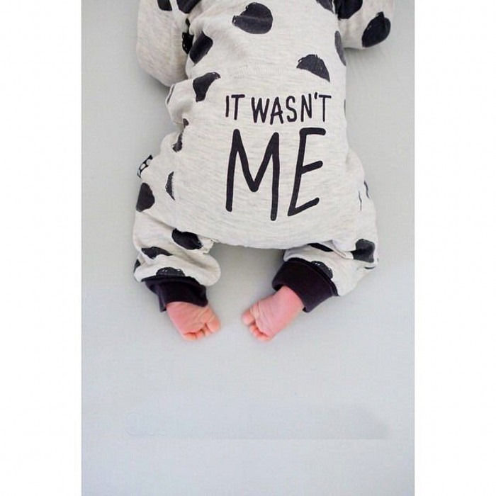 Newborn Baby Boy Girl Infant Warm Cotton Outfit 0-neck long sleeve black polkadot printed Crotch with buttons   Romper   Clothes