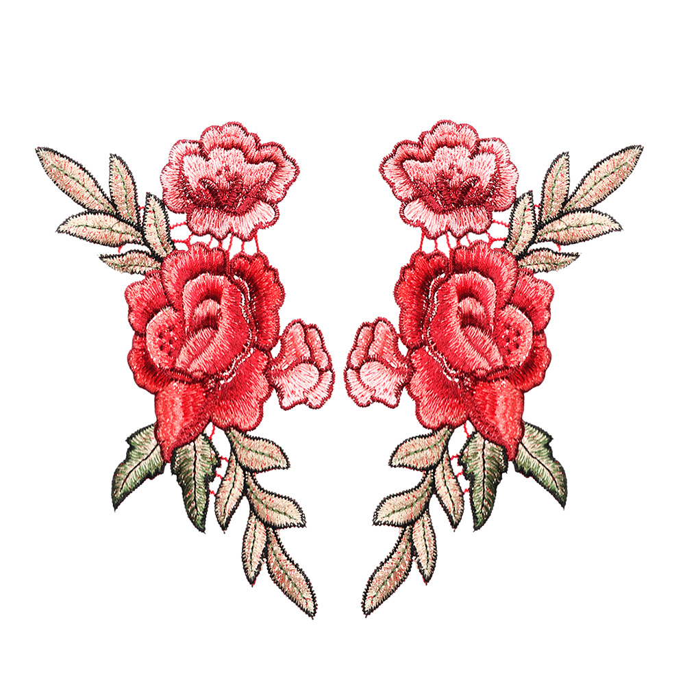 Craft Bust Floral Collar Rose Flower Applique Embroidered Sew Patch Badge