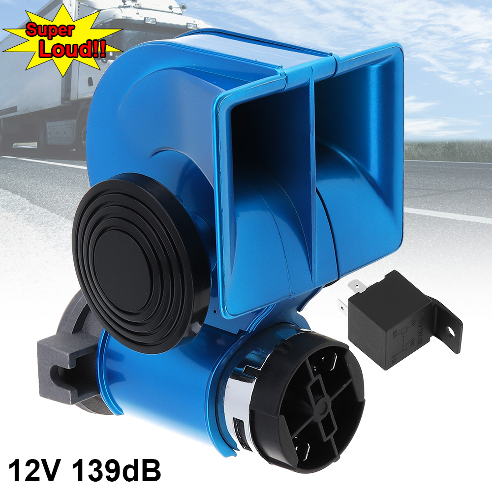 US $19 45 35% OFF|12V 139dB Loud Car Lacquer Blue Snail Compact Dual Air  Horn for Auto Vehicle Motorcycle Yacht Boat SUV-in Multi-tone & Claxon  Horns