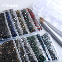 Wholesale 12 Colors/Box Hot Fix Rhinestones About 17280 Pcs Flatback Glass Stones Strass For 3D Nails Clothing DIY Decoration