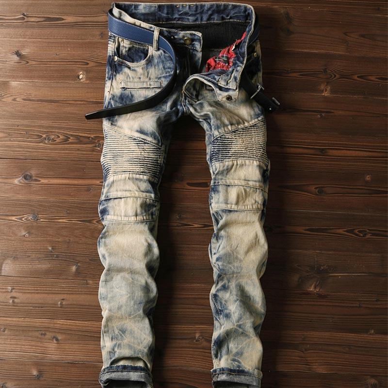 Fashion Biker Jeans Men Fold Slim Retro Wash Denim Mens Jeans Jean Homme Skinny Jeans Men Cotton Casual Pencil Pants Mp34 z40 2016 new mix brand slim straight jeans men skinny wash retro old ripped jeans mens casual denim trousers biker jeans mens zipper