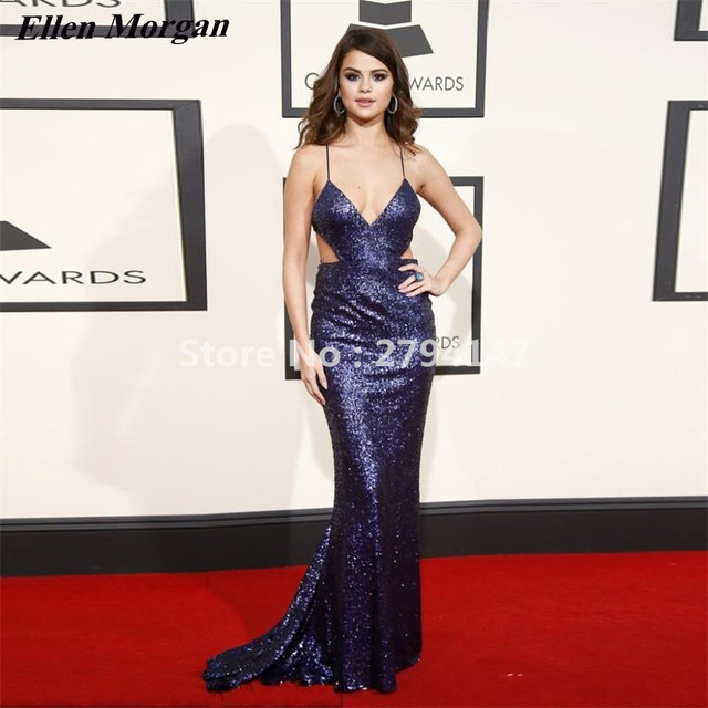 723b270dcb54a Selena Gomez Grammy Celebrity Dresses 2017 Cheap Sexy Red Carpet Backless  Navy Blue Sequin V Neck