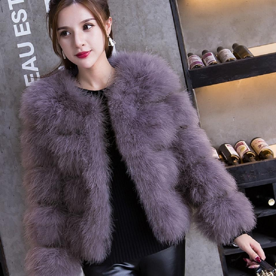 2018 hiver mode veste femme vraie fourrure manteau réel autruche plume manteau Patchwork fourrure mince était mince vêtements d'extérieur décontractés L1702