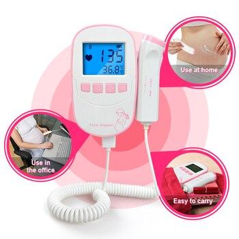 Cuidado de la salud LCD bolsillo Detector Prenatal ultrasonido Fetal Doppler portátil bebé Fetal Monitor de ritmo cardíaco gratis
