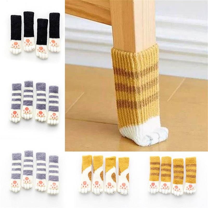 4Pcs Furniture Chair Leg Cover Pad Anti-slip Floor Knitting Sock Table Feet Mat E2S