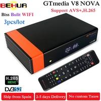 3PCS GT Media V8 Nova DVB S2 Freesat Satellite Receiver V8 Super Version H.265 WIFI+1Year Europe Cline Spain PT DE PO TV decoder