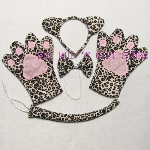 Детский Взрослый комплект животных леопардовая повязка перчатки хвост галстук-бабочка набор для вечерние, Хэллоуин, Рождество