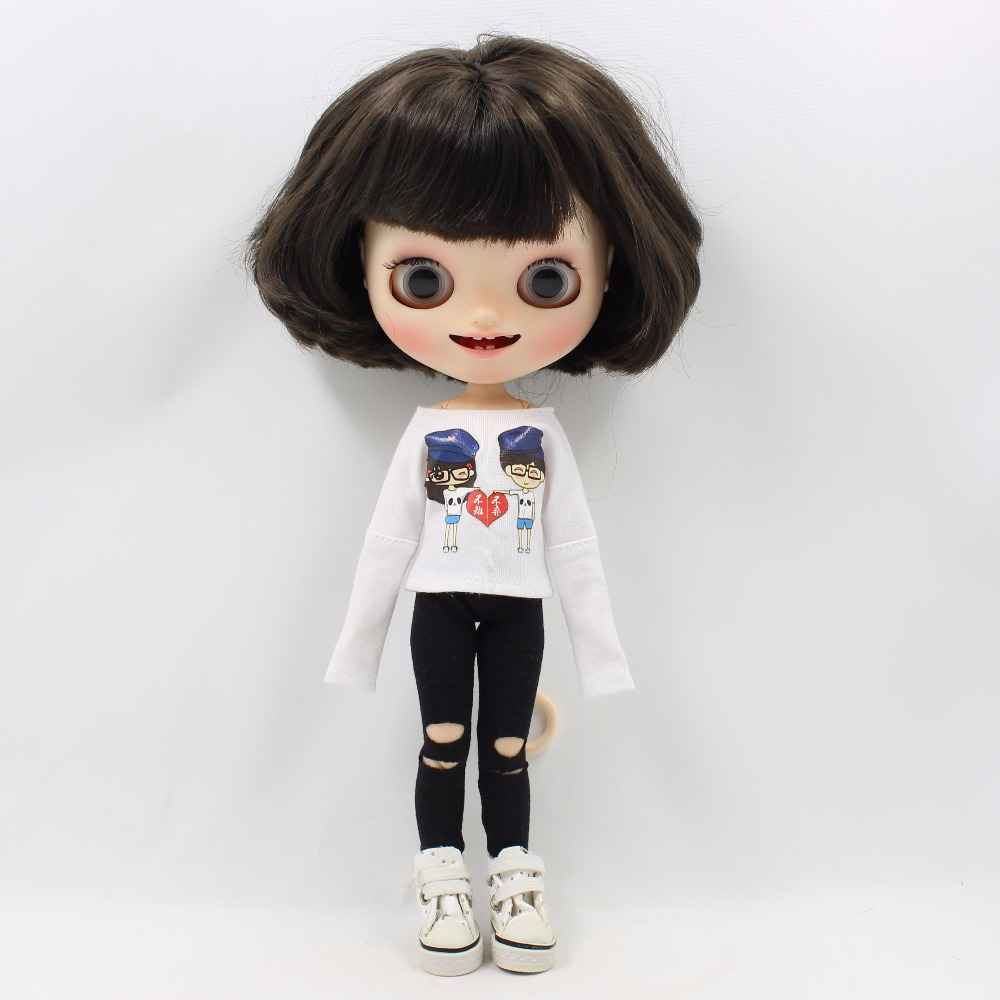 Neo Blythe Doll White Shirt with Black Pants 4