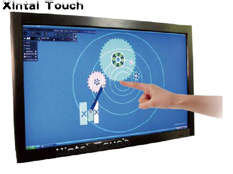Free Shipping! 2 pcs 32 multi Real 4 points IR touch screen panel frame overlay kit with free driver for Windows/Linux