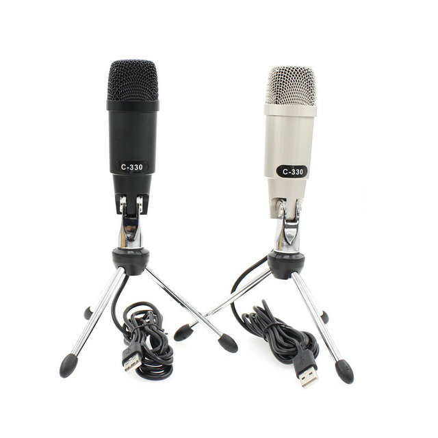 c 330 usb plastic and metal wired studio condenser microphone for computer karaoke pc video. Black Bedroom Furniture Sets. Home Design Ideas