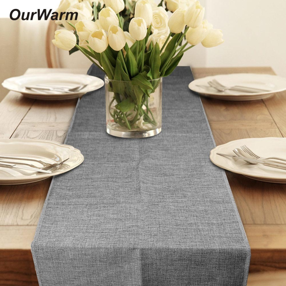 OurWarm Jute Burlap Table Runner Rustic Wedding Decoration Imitated Linen Table Runners Home Banquet Party Supplies Home Textile rustic dining room theme