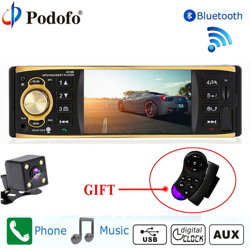Podofo Autoradio 4019B 1 Din MP3 reproductor de Radio de coche Audio AUX. USB estación de Radio FM Bluetooth retrovisor cámara remota control