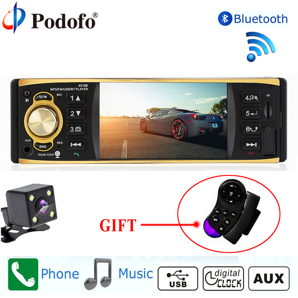 Podofo Autoradio 4019B 1 Eine Din MP3 Player Auto Radio Audio USB AUX FM Radio Station Bluetooth Rück Kamera Fernbedienung control