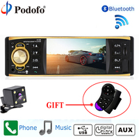 Podofo Autoradio Car Radio 1Din Car Stereo Player Bluetooth Phone AUX IN MP3 FM USB Remote