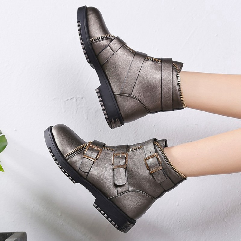 COOTELILI Fashion Zipper Boots Women Shoes Woman Ankle Boots For Women 4cm Heel Winter Autumn Rubber Boots Women 35-40 (12)