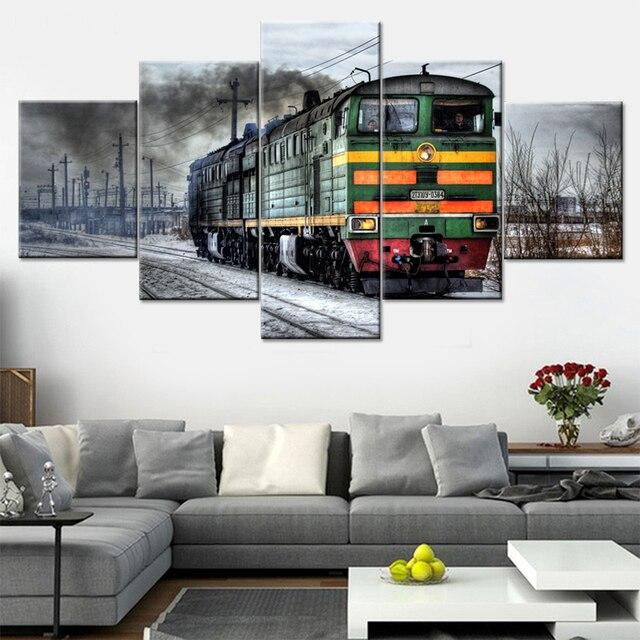 Modulare Rahmen Bilder Moderne Auf Der Wand Kunst 5 Panel Zug Für Wohnzimmer  Dekoration Abstraktes Ölgemälde
