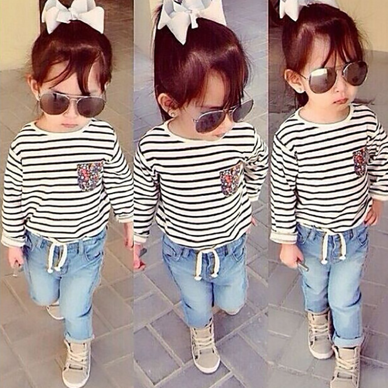 Spring Girl Clothing Sets Striped T-shirts+ Denim Pants Children Clothes Set 1-8 Years Kids Fashion Suit Teenagers Tracksuit