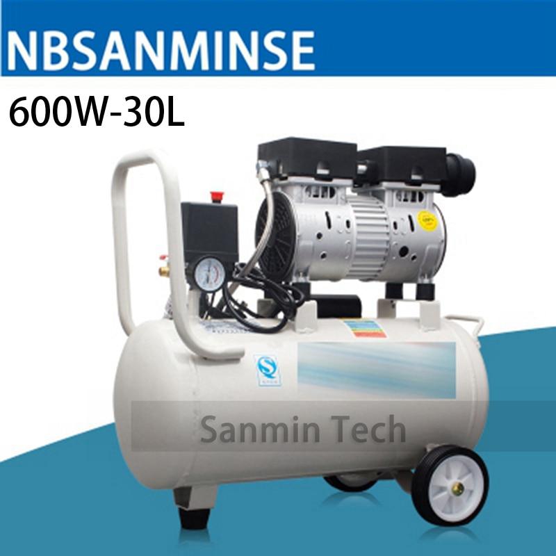 600W - 30L Mini Air Compressor Oilless High Pressure Mute Design Wood Working Home Application AC220V High Quality Sanmin high quality 600w ots 600 8l air compressor pump
