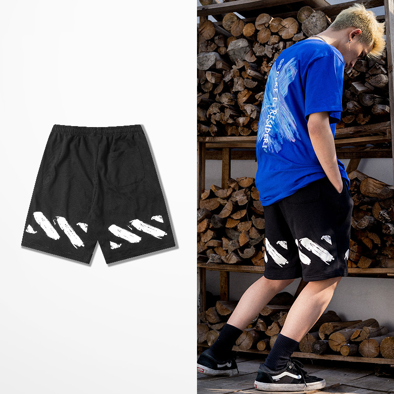 New Fashion Summer Retro Shorts Men Graffiti Print Leisure Short Pants Male High Street Hip Hop Streetwear Rock Punk Shorts Men