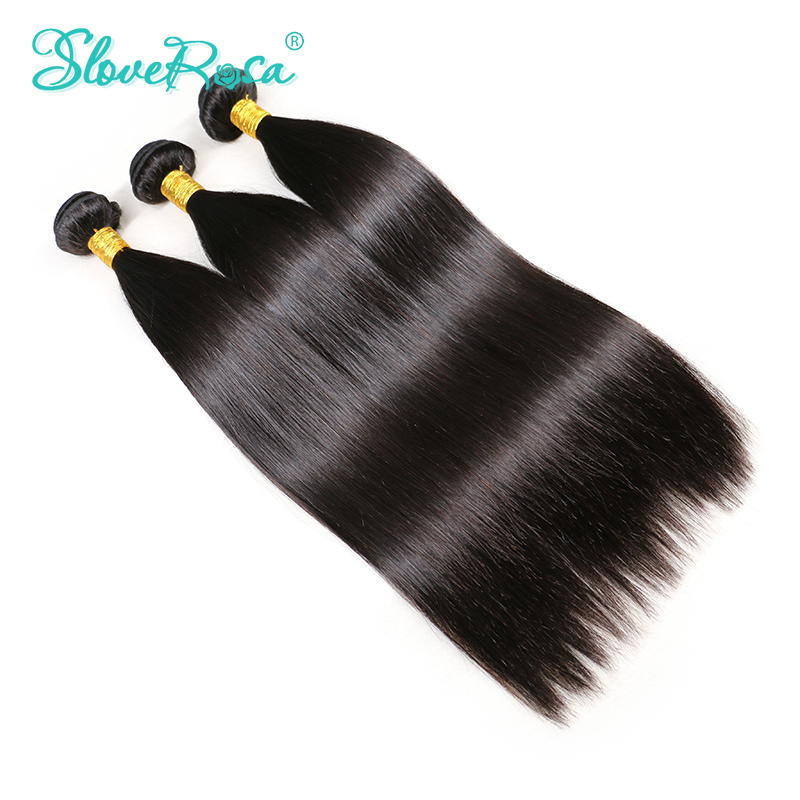Straight Brazilian Hair Weave Bundles With Thick End Natural Black Double Weft 3 pcs 100 Human
