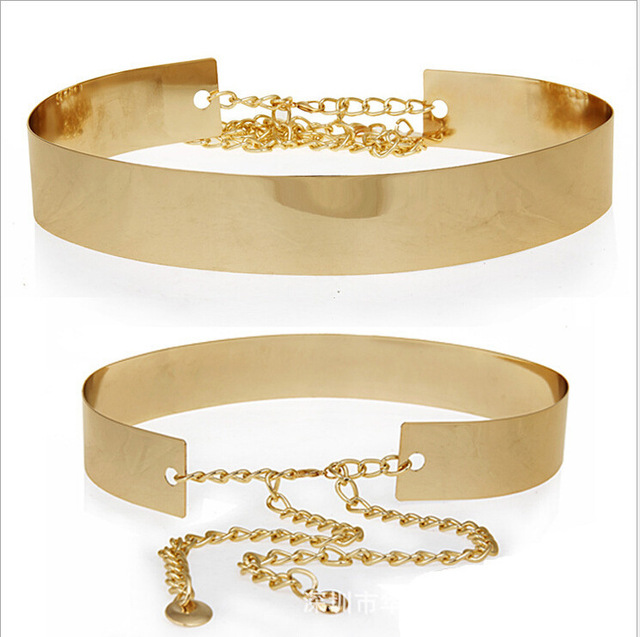 Hot Gold Chain Belts For Women Metal Plus Size Waist 75 100 Fashion