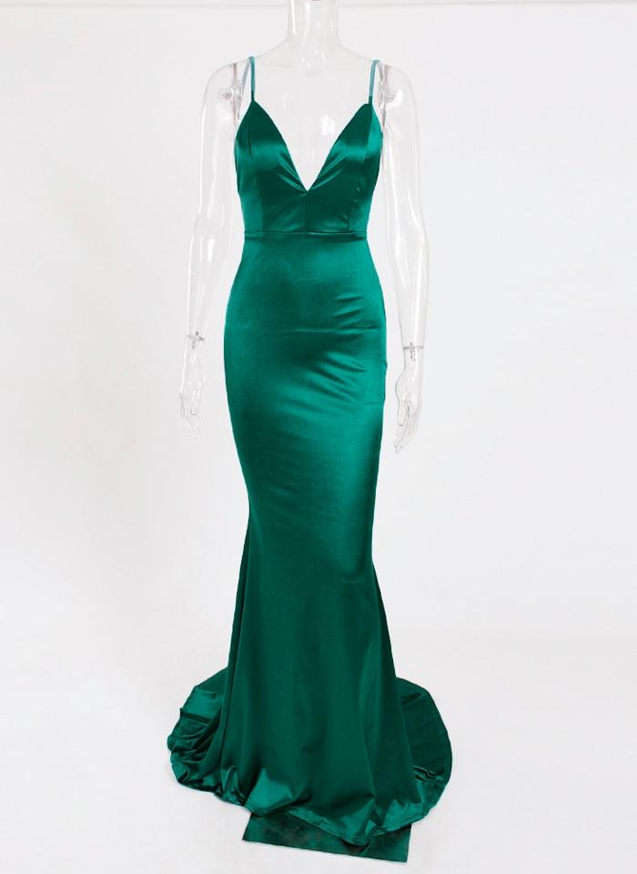 Deep V-Neck Burgundy Satin Mermaid Open Back Long Evening Dress 42