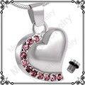 Mjd8018 pink Crystal Heart urna collar colgante conmemorativo de ceniza recuerdo cremación joyería con bolsa regalo y cadena