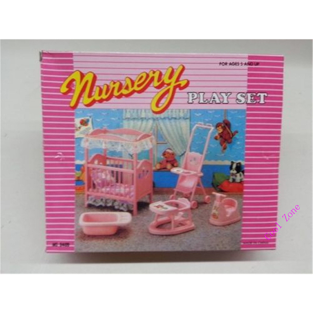 Miniature Nursery Furniture for Barbie Doll House Pretend Play Toys for Girl Free Shipping