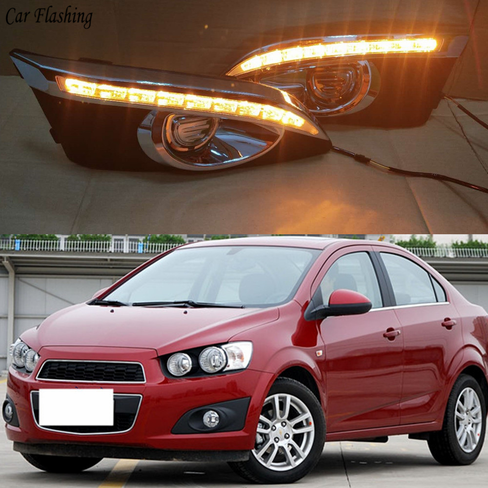 Car flashing 2PCS LED For Chevrolet Chevy AVEO Sonic 2011 2012 2013 DRL Daytime Running Lights